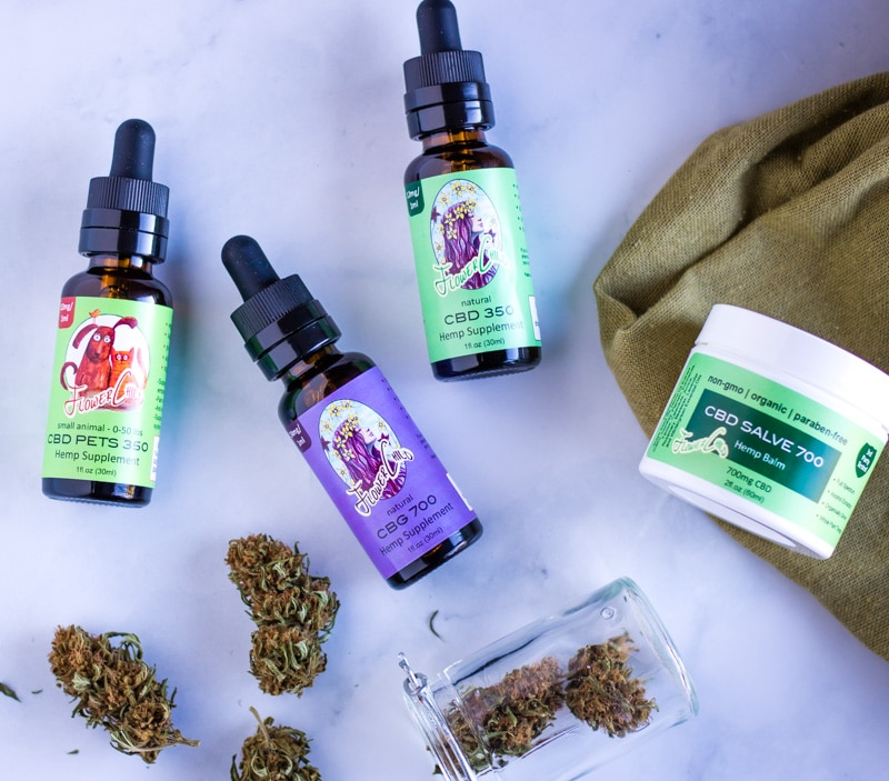 FlowerChild CBD products, tincures, and salve